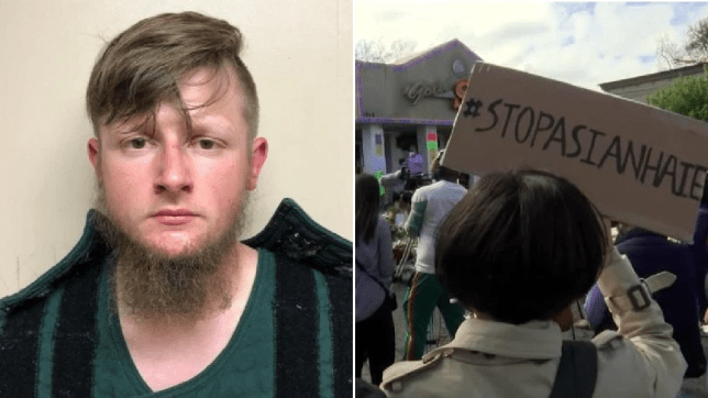 A mugshot of Robert Aaron Long (left). An image of an anti-Asian hate rally outside one of the spas where massacre occurred (right).