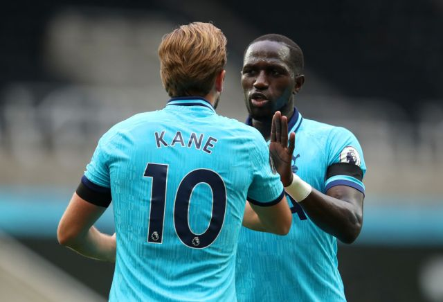 Harry Kane and Moussa Sissoko celebrate during Tottenham's Premier League clash with Newcastle United