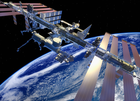 ISS in earth orbit, closer view