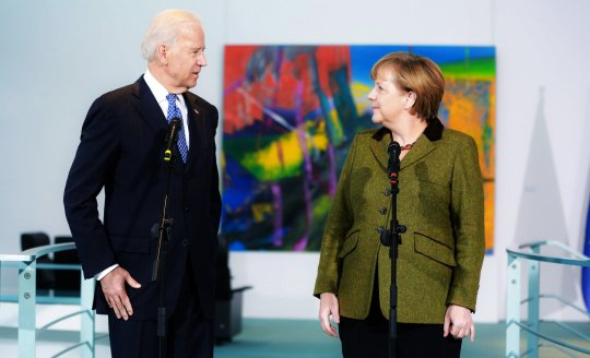Joe Biden and German Chancellor Angela Merkel speak to the media prior to talks at the Chancellery on February 1, 2013 in Berlin, Germany