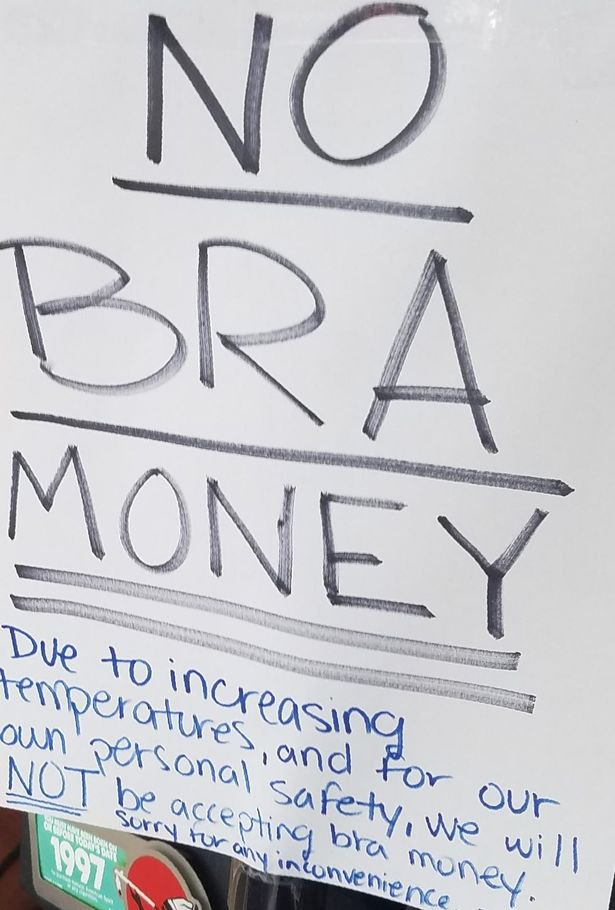 Shop bans customers from paying with cash stashed in bras during heatwave
