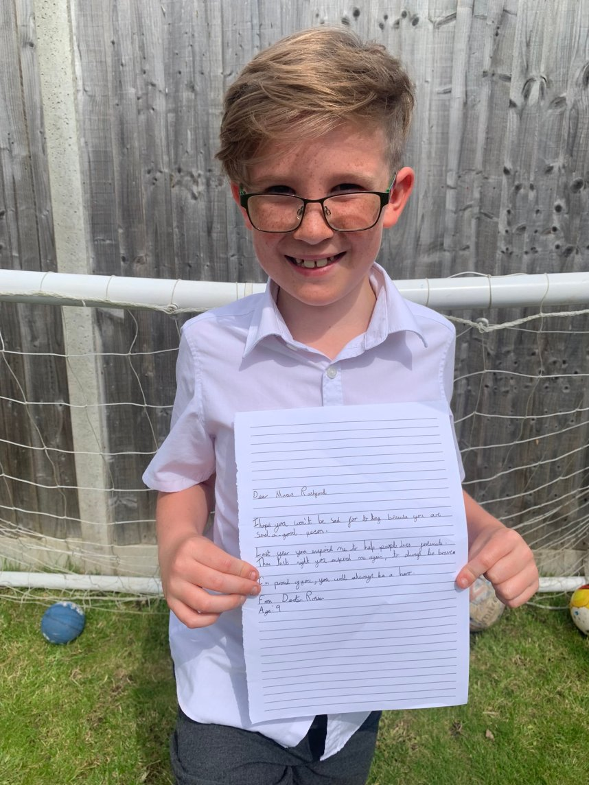Dexter Rosier, nine, wrote to Marcus Rashford after the England star missed a penalty in the Euro 2020 final shoot-out against Italy.