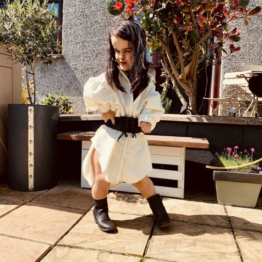 Caitlin Hellyer modeling clothes - white shirt dress