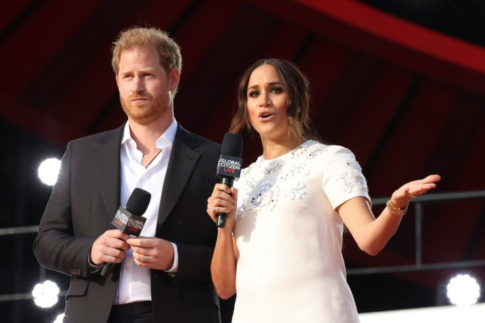 Britain's Prince Harry and Meghan Markle appear onstage at the 2021 Global Citizen Live concert at Central Park in New York, U.S., September 25, 2021. REUTERS/Caitlin Ochs