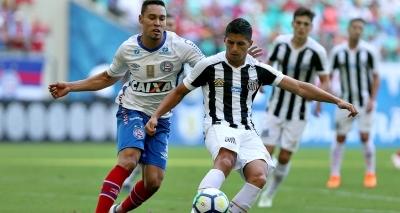 Com gol no fim, Bahia vence o Santos por 1 a 0 na Fonte Nova