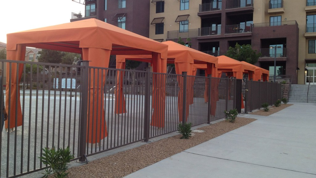 Custom Pool Side Canopies with Iron Support Structures
