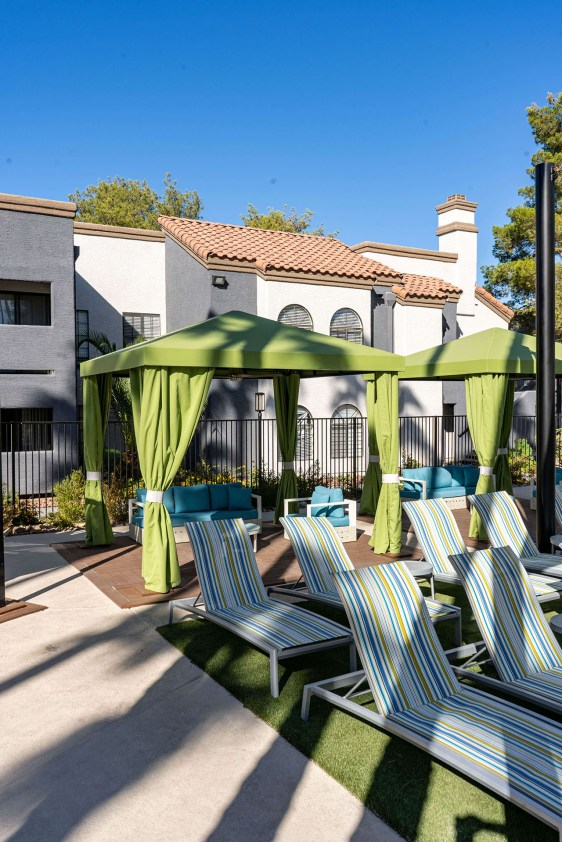 Beautiful Poolside Cabanas at the Martinique Bay Apartments located in Henderson, Nevada