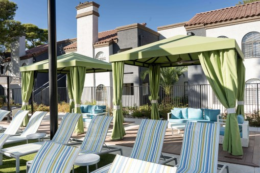 Martinique Bay Apartments Custom Poolside Cabanas by Metro Awnings of Las Vegas, Nevada