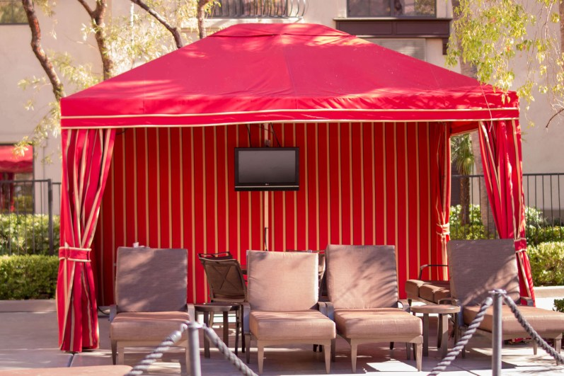 Custom Poolside Shade Cabana by Metro Awnings of Las Vegas, Nevada - Tuscany Hotel & Casino