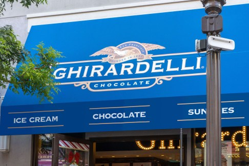 Close-up of Custom Ghirardelli Chocolate Branded Awning System - Designed and Fabricated by Metro Awnings of Las Vegas, Nevada