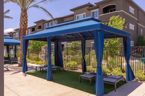 Poolside Awnings at Level 25 Apartments in Las Vegas, Nevada - Cabanas Fabricated by Metro Awnings of Southern, Nevada