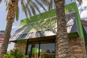 Close-up of Commercial Awnings by Metro Awnings - Sammy's Wood Fire Pizza Branded