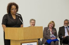 "Audua Pugh, a NHCC student studying human services, spoke at the event. ""I have had a wonderful experience here at North Hennepin. When I found out that Metropolitan State was offering on campus bachelor's degree programs, I was so happy,"" Pugh said. ""I specifically chose those classes at North Hennepin because I knew there was a direct path to Metro State."" Pugh in Feb. 2015 won all the All-USA Community College Academic Team scholarship and the Phi Theta Kappa New Century scholarship. She completed her two-year degree in May 2015 and will work toward her bachelor's degree under the new partnership. She hopes to earn her doctorate."