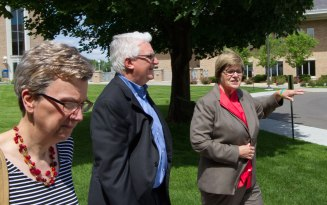Pioneer Press editorial board member Pat Effenberger, left, and editor Mike Burbach met with incoming President Ginny Arthur on June 16 to discuss Metropolitan State University's role and vision in Saint Paul.