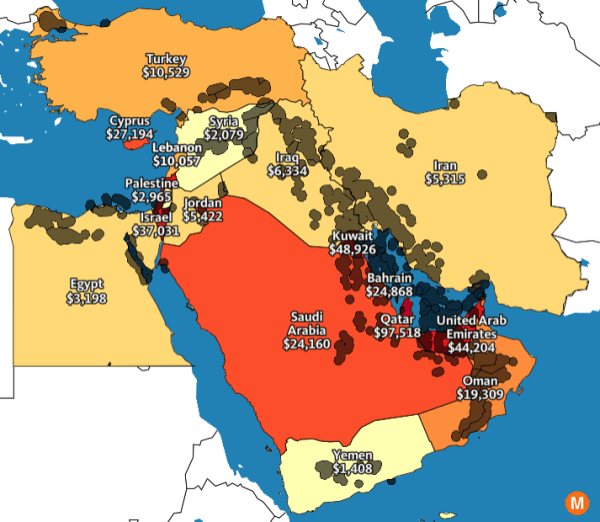 oil map middle east