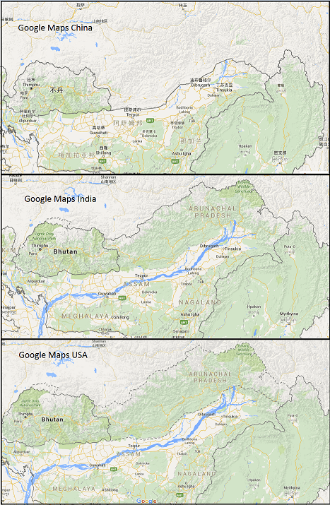 arunachal pradesh google maps borders
