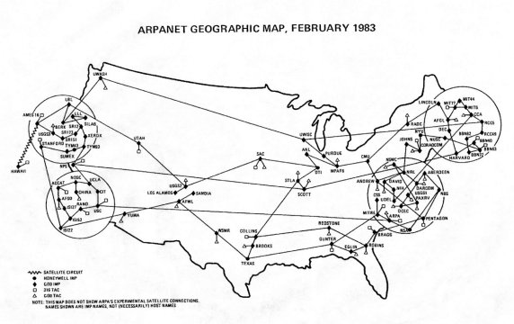 arpanet map 1983 birth of the internet