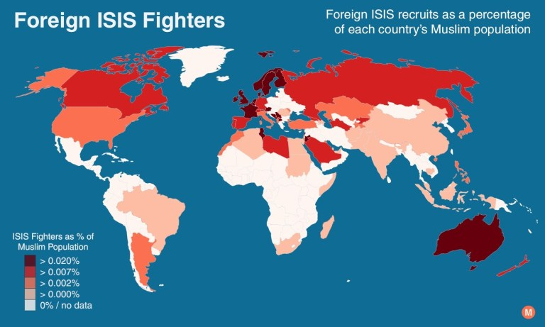 map isis fighters percentage