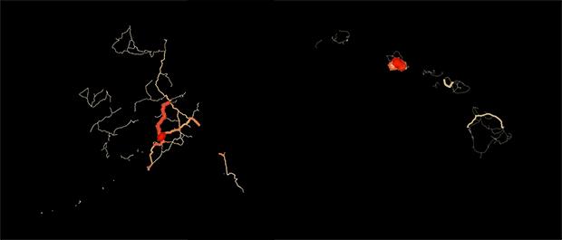 hawaii alaska traffic map