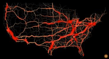 usa traffic flow map large