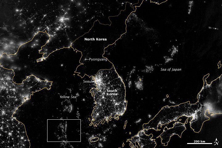 north korea at night map