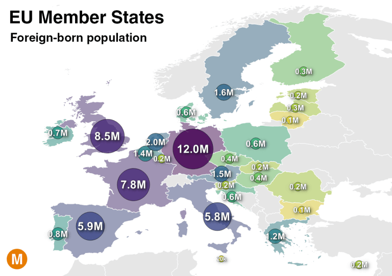 eu immigrant populations map