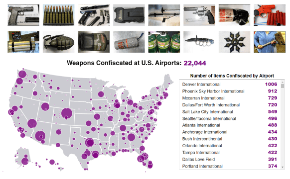 weapons found in US airports map