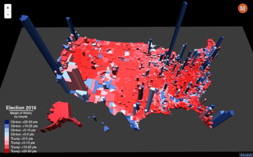 Election map by county 3D