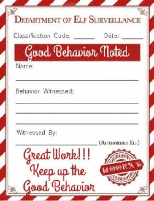Elf on a Shelf: Good Behavior Note Printable