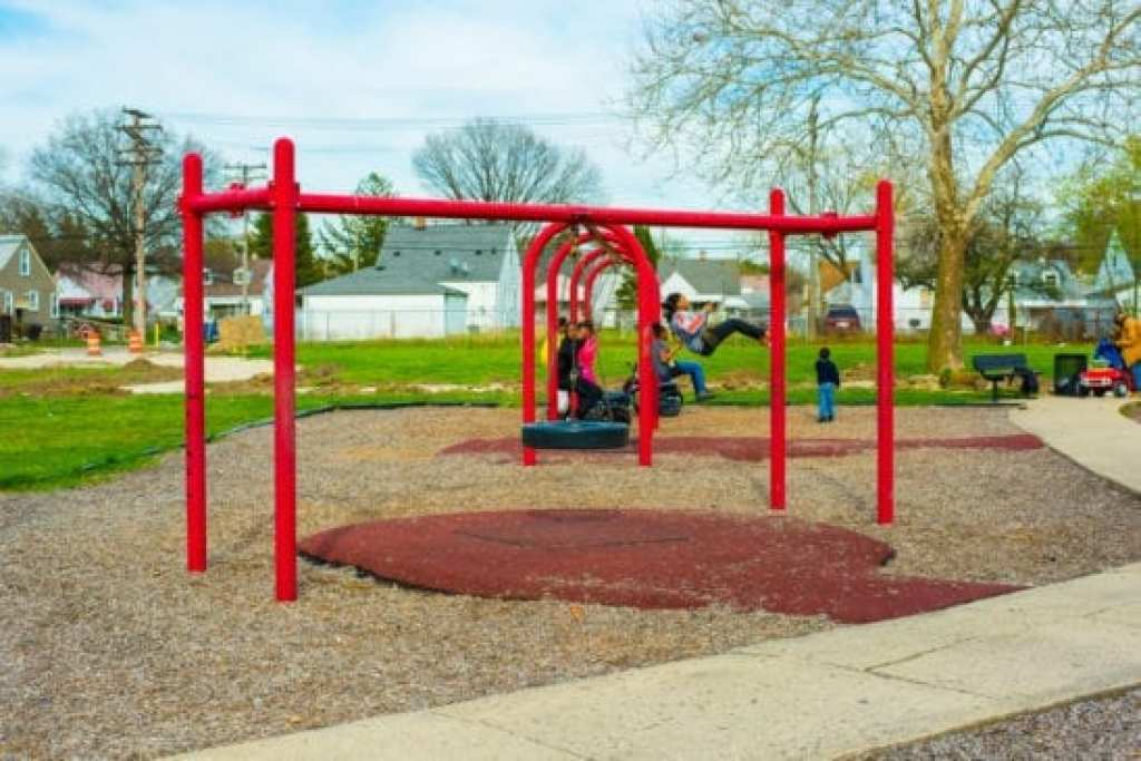Tire Swing and Swings at 8 Mile Park in Detroit