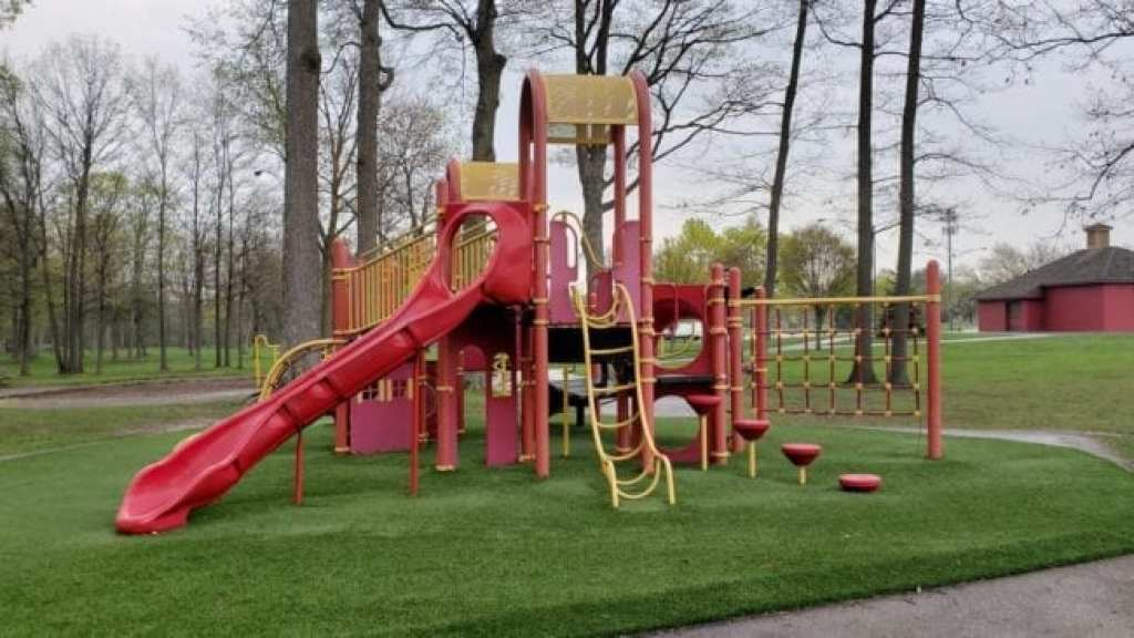 barrier free play structure at Firefighters Park in Troy