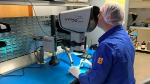 Vital Aerospace Inspection Performed With High Resolution Microscope
