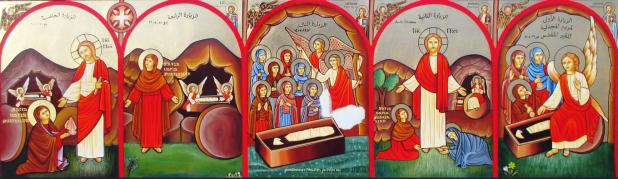 أيقونة فن قبطى من راسم راهبات دير القديسة دميانة ببرارى بلقاس توضح الزيارات الخمس لمريم المجدلية لقبر السيد المسيح فى فجر أحد القيامة