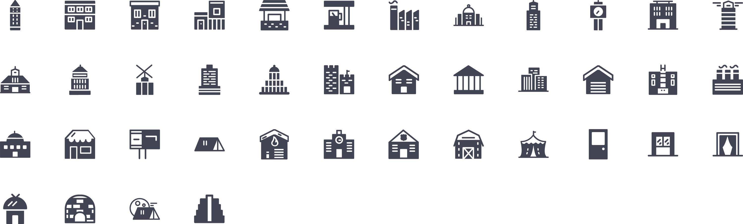 Buildings Glyph Icons