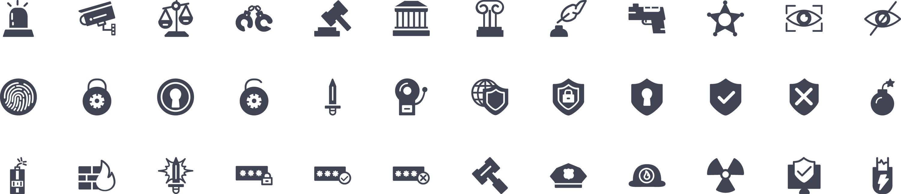 Law and Crime Glyph Icons