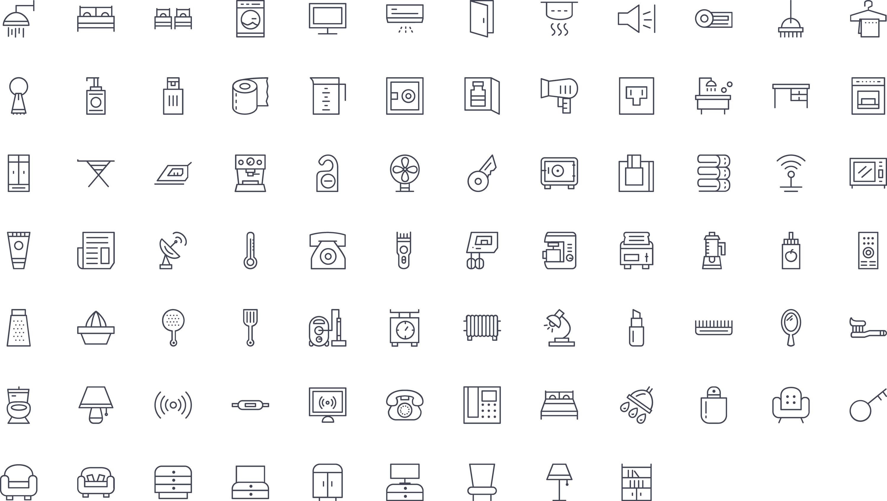 Room Facilities Line Icons