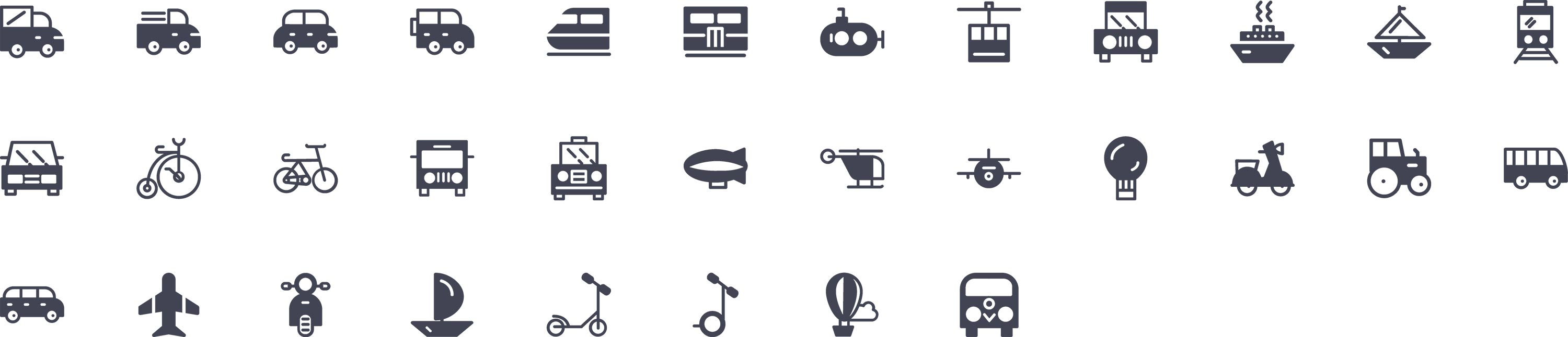 Transportation Glyph Icons
