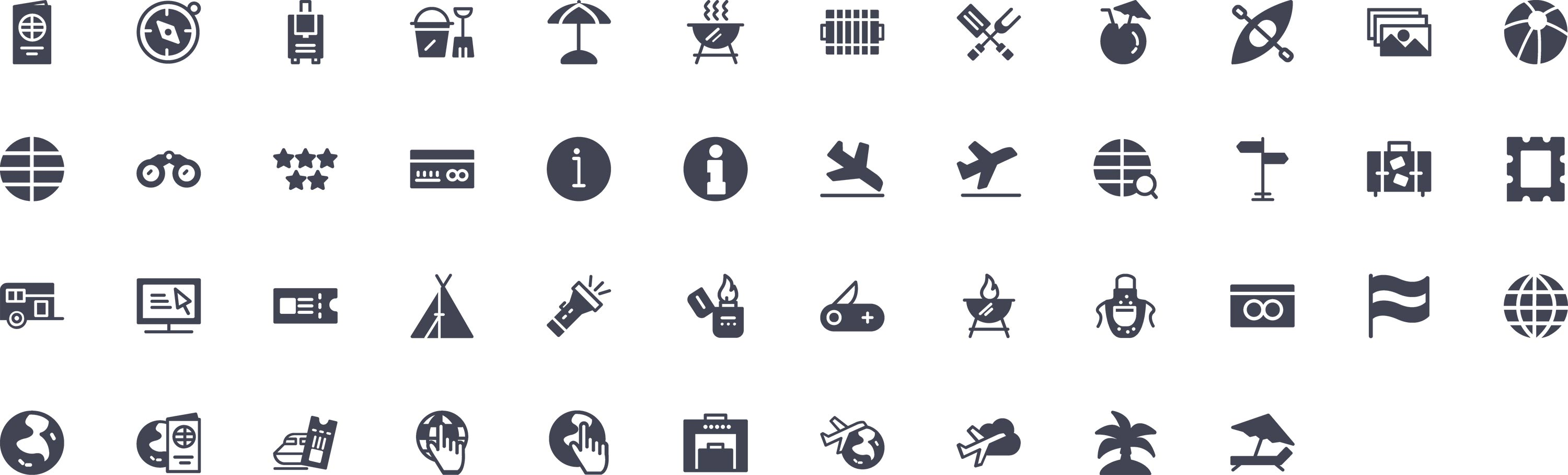 Travel Essentials Glyph Icons