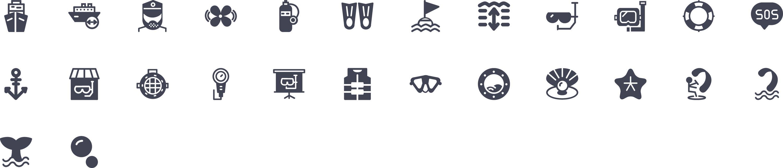 Water Activities Glyph Icons