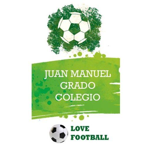 motivo fútbol identificadores escolares carnet stickers