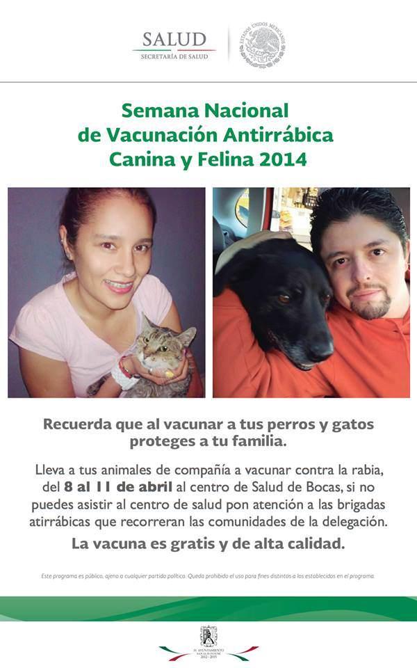 Semana Nacional de Vacunación Antirrábica Canina y Felina 2014 (Delegación Bocas)  @ Delegación de Bocas | Bocas | San Luis Potosí | México