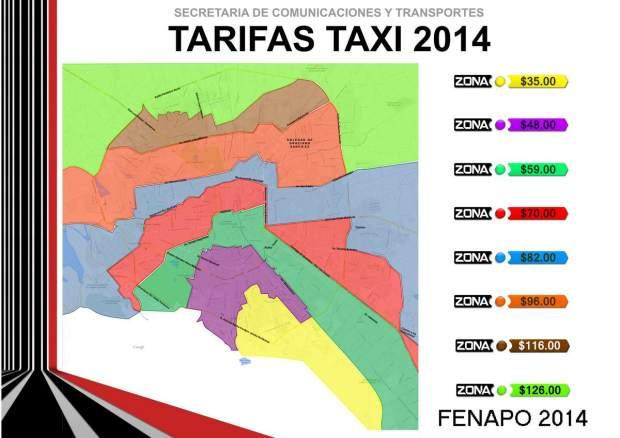 MAPA TARIIFAS TAXI FENAPO 2014