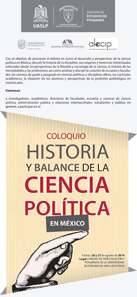 Coloquio Historia y Balance de la Ciencia Política en México