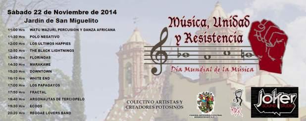 Música, Unidad y Resistencia @ Jardín de San Miguelito | San Luis Potosí | San Luis Potosí | México