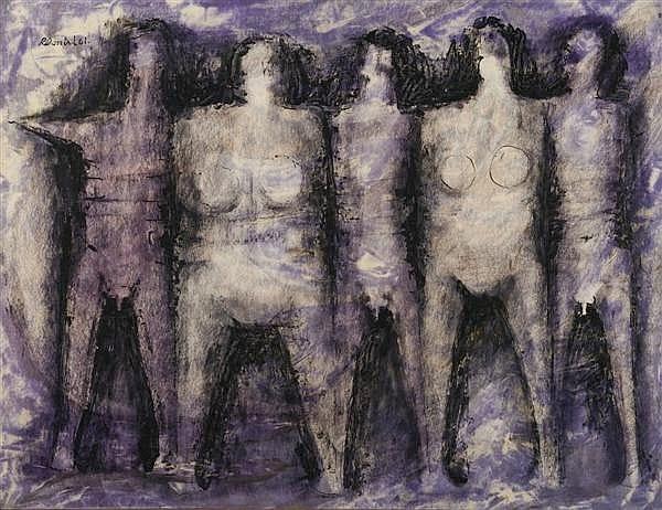 Muestra de la obra de Roberto Donis. Grupo de hombres y mujeres