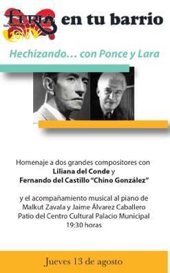 Hechizando… con Ponce y Lara @ Centro Cultural Palacio Municipal