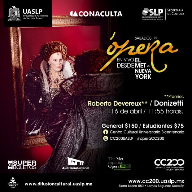 Sábados de Ópera: Roberto Devereux / Donizetti @ Centro Cultural Universitario Bicentenario