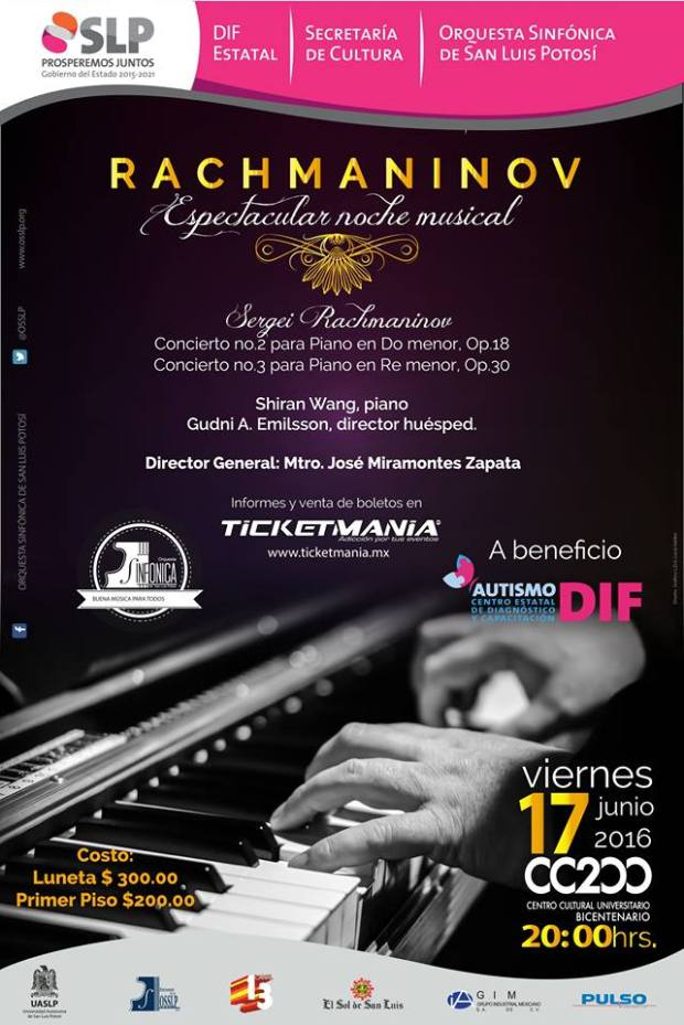 Rachmaninov: espectacular noche musical (concierto a beneficio) @ Teatro de la Paz | San Luis Potosí | San Luis Potosí | México