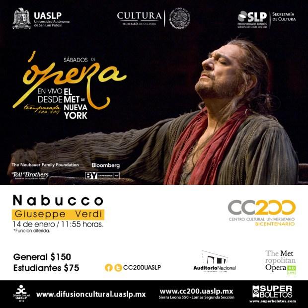 Ópera - Nabucco En vivo desde el MET de Nueva York @ Centro Cultural Universitario Bicentenario | San Luis Potosí | San Luis Potosí | México