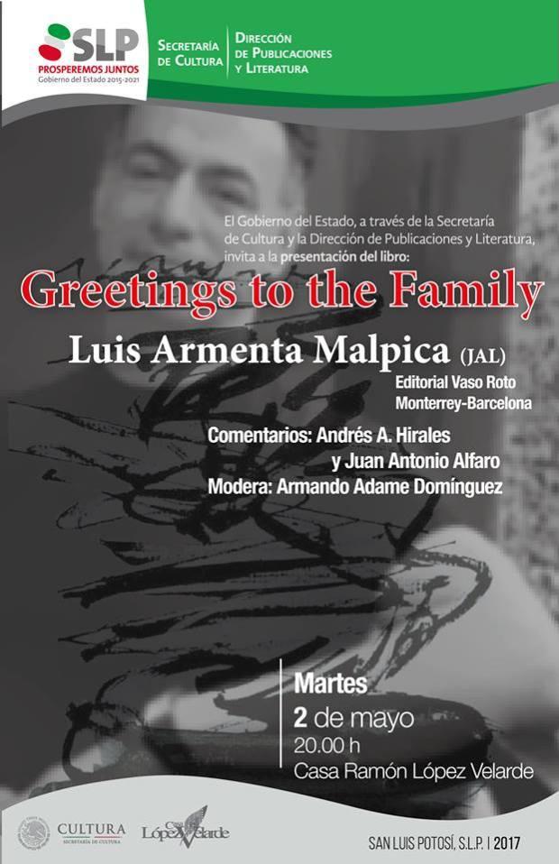 """Presentación del libro """"Greetings to the Family"""" @ Casa del Poeta Ramón López Velarde"""
